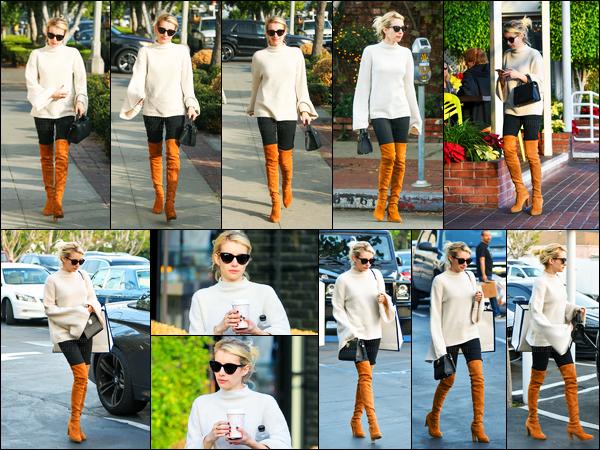 09.12.2016 ─ Emma Roberts a été aperçue, alors, qu'elle se rendait au magasin Fred Segal dans West Hollywood.La belle blondinette se rendait faire des courses au centre commercial. Concernant sa tenue, c'est un beau top de ma part personnellement. Vos avis?