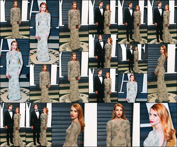 26.02.2017 ─ Emma Roberts était présente lors des « Vanity Fair Oscar Party », ayant eu lieu, dans Beverly Hills.Emma R. s'est donc rendue à l'after-party des Oscars en compagnie de son chéri. Qu'ils sont mignons ! Concernant sa tenue, c'est un très beau top !