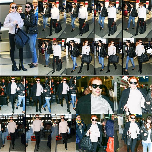 28.02.2017 ─ Emma Roberts a été photographiée, alors, qu'elle arrivait à l'aéroport de LAX, étant, à Los Angeles.Le lendemain, après des heures de vol, notre belle actrice a été photographiée arrivant à l'aéroport Charles de Gaulle dans Paris. Sa tenue est un top !