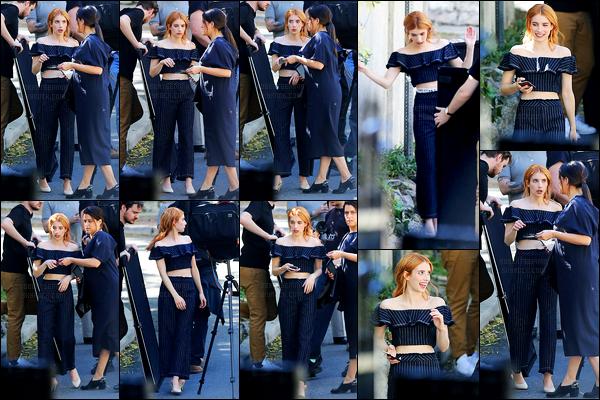 08.03.2017 ─ Emma Roberts a été photographiée alors qu'elle était sur le set d'un photoshoot, dans Los Angeles.Nous avons malheureusement peu de photos de la belle Emma lors de cette sortie... Concernant sa tenue, c'est un top de ma part ! Et vous, vos avis ?