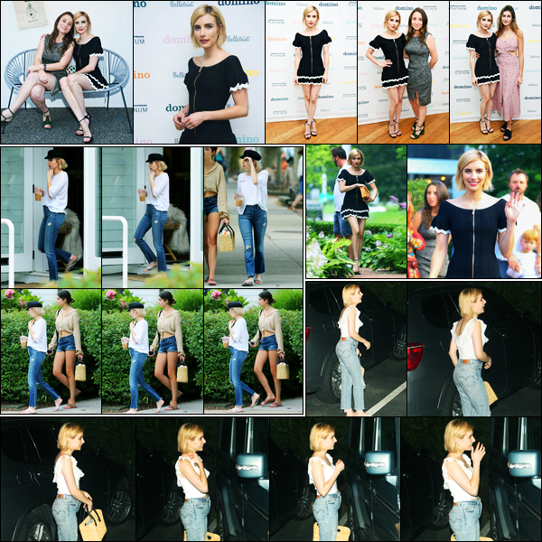 04.08.2017 ─ Emma Roberts a été photographiée, alors, qu'elle quittait « Juice Press » étant dans New-York City.Plus tard, la belle E. s'est rendue au « Domino x American Express Platinum » à New-York... Concernant ses tenues, c'est deux beau tops pour ma part !