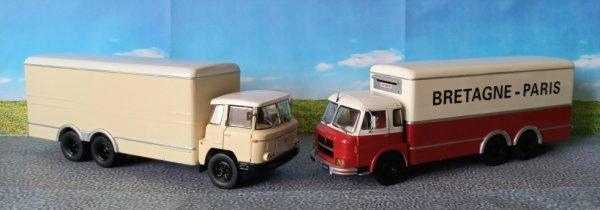 Mes deux modèles porteur 4x2 de la collection Altaya modifiés en 6x2 . Ce genre de véhicule était encore bien représenté sur nos routes dans les années 60 !