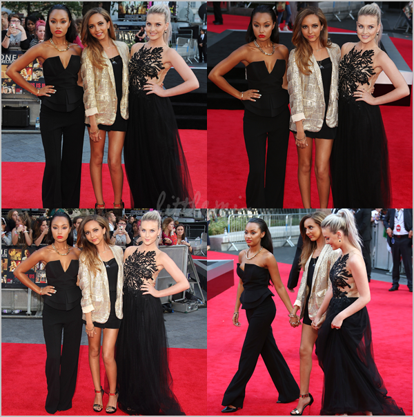 20/08/13 Jade, Leigh-Anne & Perrie étaient à l'avant première du film des One Direction à Londres. Jesy n'était pas là, elle serait malade. Vidéos : Interview - Zayn et Perrie - Zayn et Perrie #2