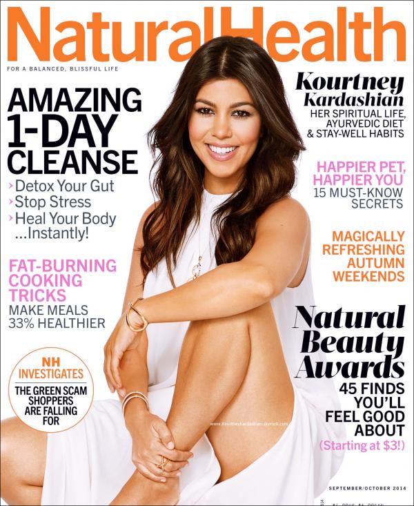 Natural Health : Découvrez Kourtney en couverture du magazine Natural Health pour Septembre/Octobre 2014.