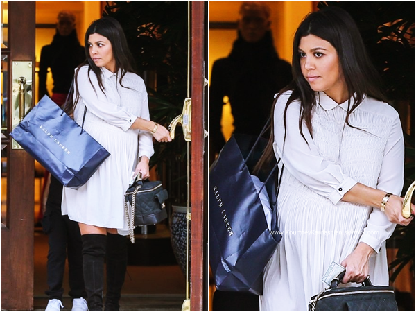 20/11/2014 : Kourtney quittant la boutique Ralph Lauren à Beverly Hills.