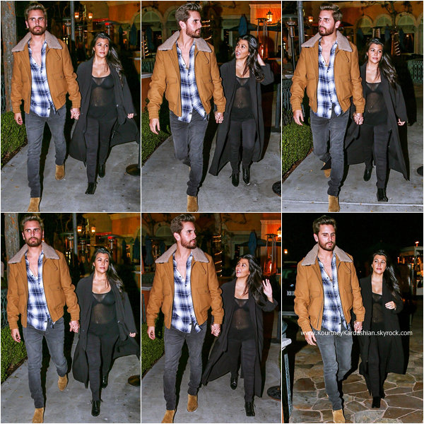 31/01/2015 : Kourtney et son fiancé Scott quittant le restaurant Sugarfish à Calabasas.