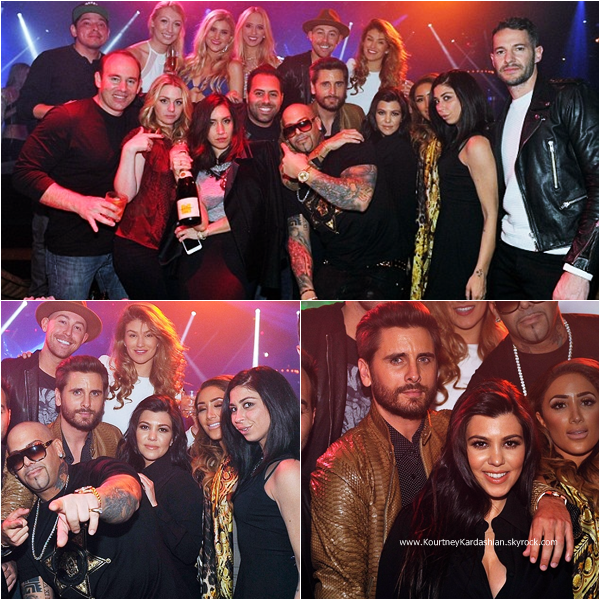 21/02/2015 : Kourtney et et son fiancé Scott assistant à une soirée au club 1OAK à Las Vegas.