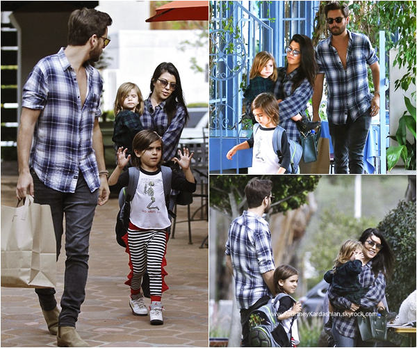 10/03/2015 : Kourtney, son fiancé Scott et leurs enfants quittant un restaurant à Los Angeles.