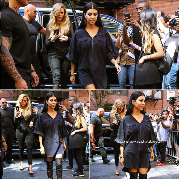 16/09/2015 : Kourtney et sa soeur Khloé arrivant au Kanye West Fashion Show à New-York.