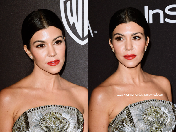 10/01/2016 : Kourtney et sa soeur Kylie assistant au The 2016 InStyle And Warner Bros. 73rd Annual Golden Globe Awards Post-Party à Beverly Hills.