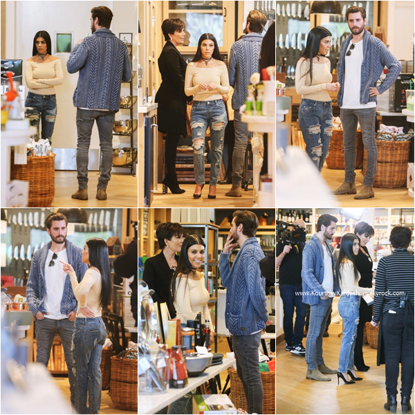 02/02/2016 : Kourtney, sa maman Kris et Scott faisant du shopping chez Williams-Sonoma à Calabasas.