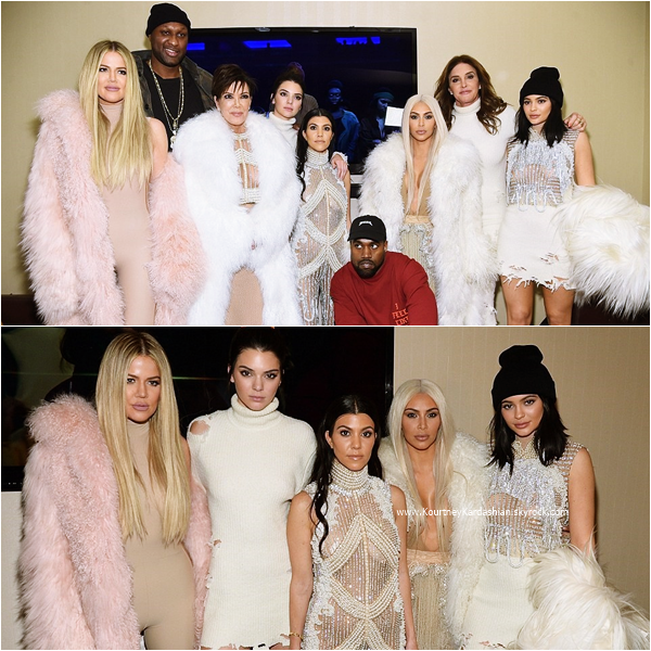 11/02/2016 : Kourtney et sa famille assistant au défilé Kanye West Yeezy Season 3 à New-York.