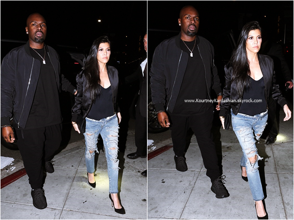 03/03/2016 : Kourtney et Corey Gamble arrivant/quittant le restaurant The Nice Guy à West Hollywood.