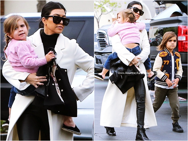 05/03/2016 : Kourtney et ses enfants se rendant au restaurant à Los Angeles.