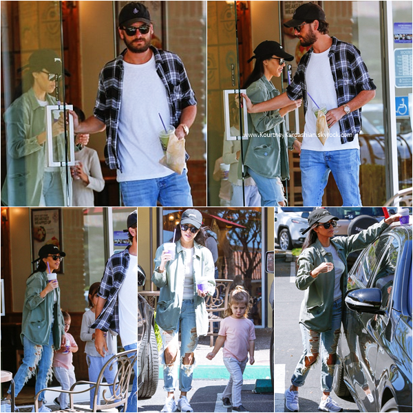 06/03/2016 : Kourtney, Scott et ses enfants quittant Coffee Bean & Tea Leaf à Calabasas.