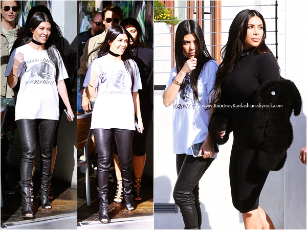 09/03/2016 : Kourtney, sa soeur Kim et Jonathan Cheban arrivant/quittant le restaurant Hugo à Thousand Oaks.