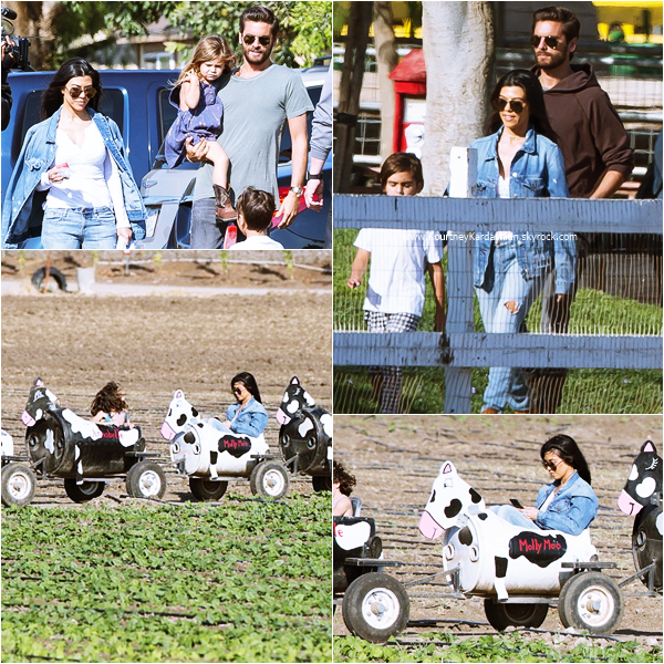 25/05/2016 : Kourtney, Scott et leurs enfants se rendant au Underwood Farms à Los Angeles.