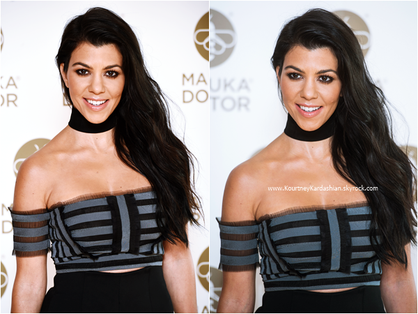08/06/2016 : Kourtney assistant au Launch of Manuka Doctor à Londres.