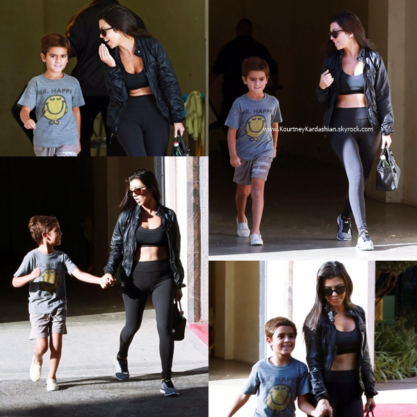 04/10/2016 : Kourtney et son fils Mason arrivant/quittant un cours d'art à Calabasas.