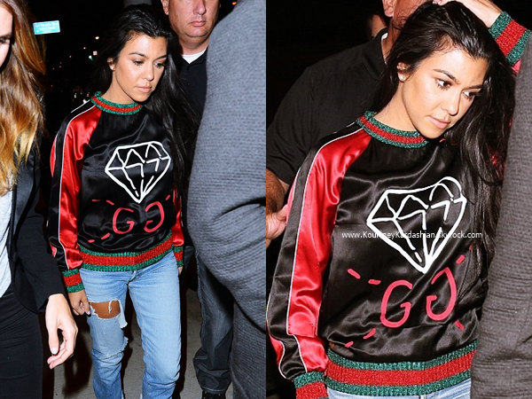 13/10/2016 : Kourtney et des amis allant dîner au restaurant Catch à West Hollywood.