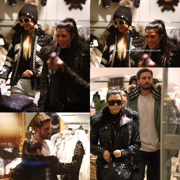 28/12/2016 : Kourtney, Scott et Paris Hilton faisant du shopping à Aspen.
