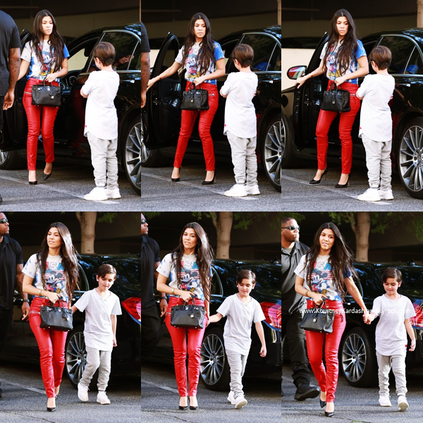 07/03/2017 : Kourtney et son fils Mason arrivant/quittant un cours d'art à Woodland Hills.