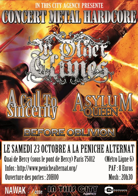 Next show with In other climes 20/10 PARIS