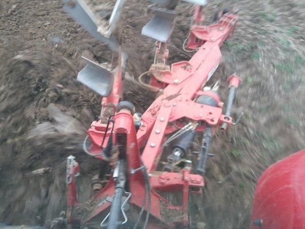 Labours avec MF 5460 attelé à une charrue Gregoire Besson de 3 socs le 7/01/11 - 2/3