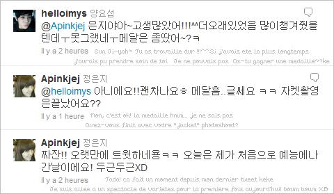 27.04.11|Coup d'oeil sur les tweets de nos A-Pink~ (toutes les traductions sont faîtes par moi)