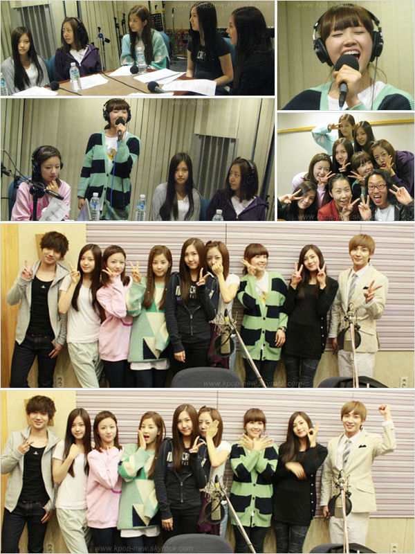 A-Pink sur SBS Jung Sunhee's Tonight Radio | Leeteuk et Yesung (Super Junior) posaient avec nos petites fées.