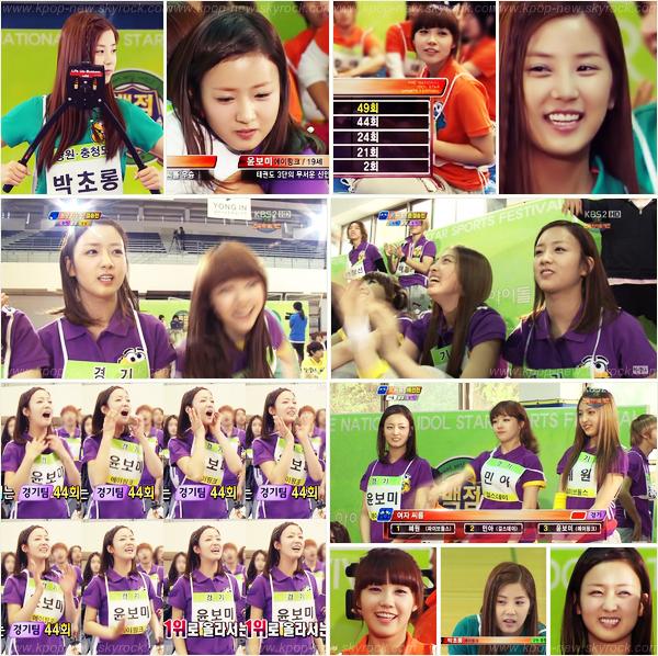 ChoRong, EunJi & Bomi dans l'émission KBS '100 Points Out of 100' -D'après les images, HyeWon des 5Dolls était aussi présente!
