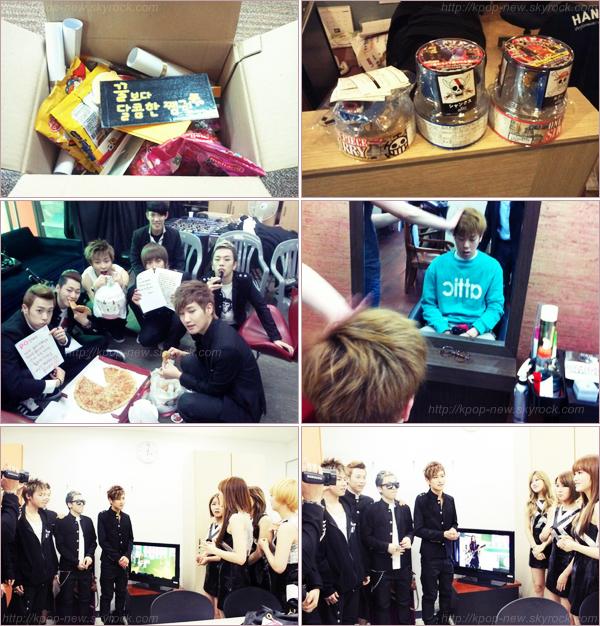Photos personnelles des Block B - Quelques cadeaux envoyés par les fans de U-KwonBlock B fan des Rainbow? JaeHyo & Kyung fans des A-Pink?(backstage)