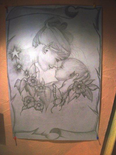 un petit  dessin aux craillons a papier