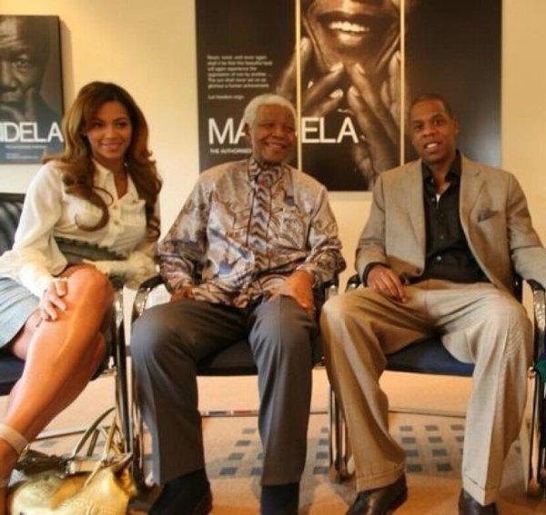 Jay-Z et Beyonce aux côtés de Nelson Mandela