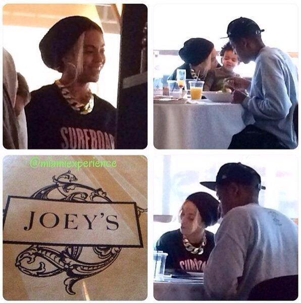 Beyonce/ Jay Z et Blue Ivy au resto à Miami