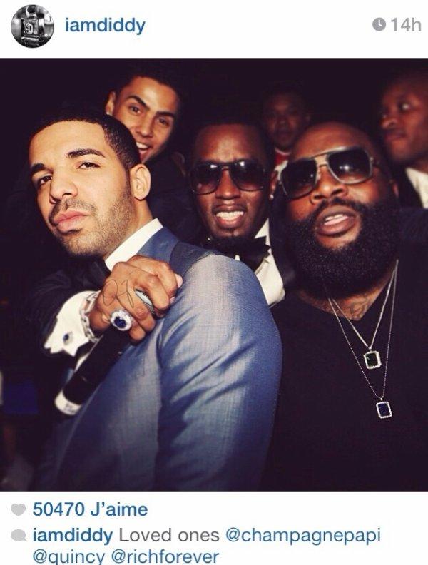Drake fait la fête avec Diddy et Rick Ross