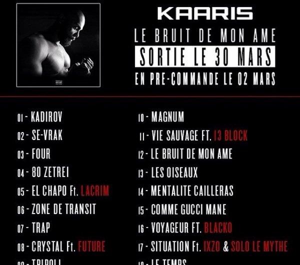 Tracklist de l'album de Kaaris