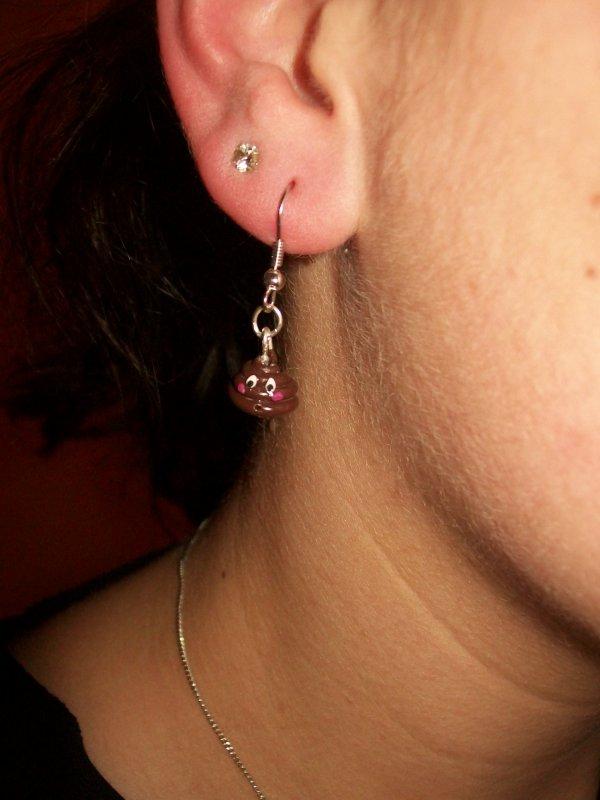boucle d'oreilles crottes et PQ