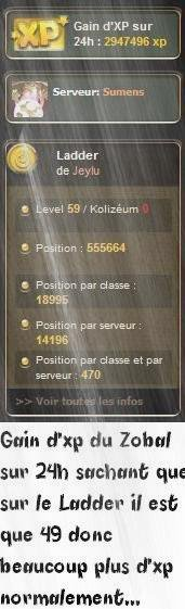 Gain d'XP du Zobal sur 24H !