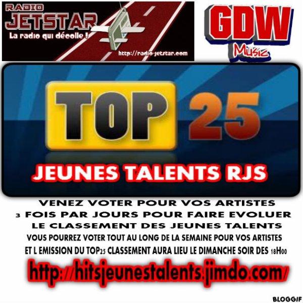 LISTE DES ARTISTES EN  CLASSEMENT TOP 25 pour la semaine du 26 JANVIER 2013 AU DIMANCHE 3 FEVRIER 2013