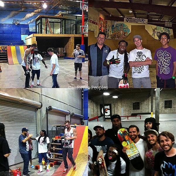 Weezy fait toujours aussi bien du skate , il était à l'entrepôt Thrasher à 3heures du matin . Lil Chuckee & Cory Gunz était présent .