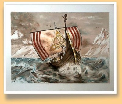 Drakkar sur mer agitée