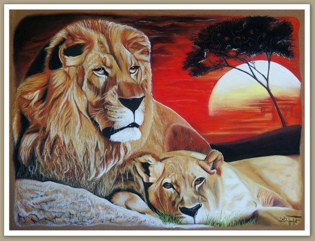 Portrait d'un couple de lions d'Afrique...