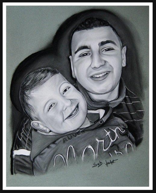 Portrait fusain de 2 frères
