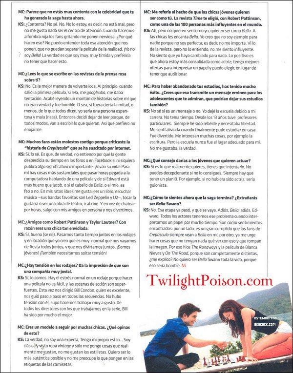 . Interview/Scan de Kristen pour l'édition de novembre du magazine mexicain Milenio. .