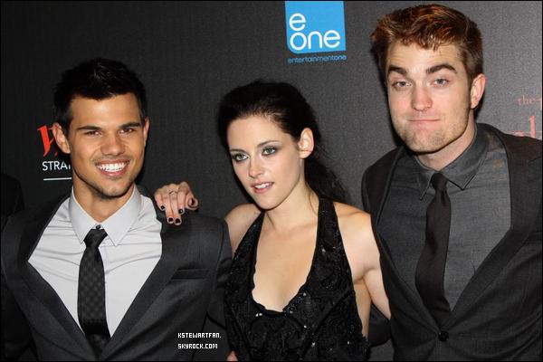 . 16/11/2011 : Interviews/Photos de Kristen à l'avant première de BD Part.1 accompagnée de Rob et Taylor à Londres. .
