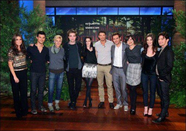 . 19/11/2011 : Vous pouvez retrouver le Ellen Show en entier qui à été diffusé en Amérique le 18/11/2011, où tout le cast de Twilight étaient présent. .