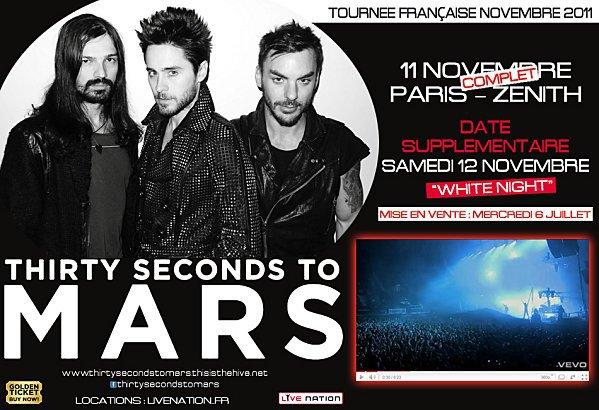 Tournée française de Thirty Seconds To Mars (novembre 2011)
