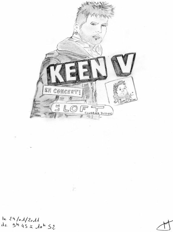"Dessin du chanteur Number One ""Keen'V"" un chanteur en Or"