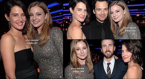 13/03/2014: Em' VanCamp était présente à la première de « Captain America : The Winter Soldier ». (LA) Emily est a l'affiche du film dans le rôle de l'agent 13. Le film est sorti le 26 mars 2014 et a fait plus de 1 700 000 entrées.